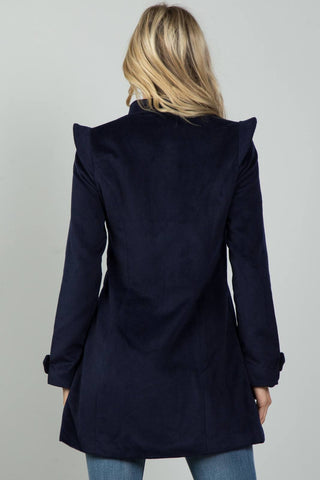 Ladies fashion navy pointed shoulder detail long coat - Its Trendy Frenzy