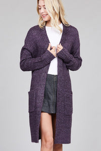 Ladies fashion dolmen sleeve open front w/patch pocket marled sweater cardigan - Its Trendy Frenzy