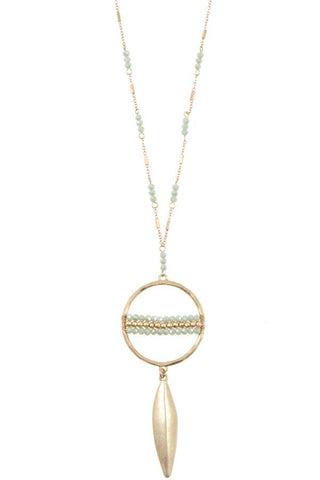 Elongated ring bead drop metal pendant necklace set - Its Trendy Frenzy