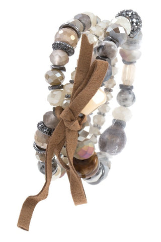 Multi glass bead faux suede brow accent bracelet - Its Trendy Frenzy