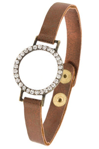 Rhinestone ring faux crackled leather bracelet - Its Trendy Frenzy