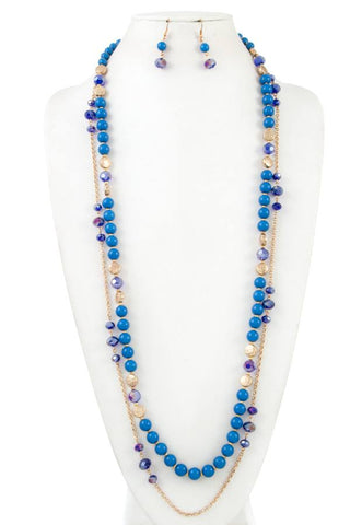 Elongated mix bead chain necklace set - Its Trendy Frenzy
