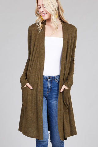 Ladies fashion long sleeve open front w/pocket brushed hacci cardigan - Its Trendy Frenzy