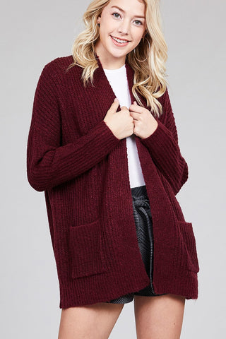 Ladies fashion dolmen sleeve open front surplice back construction sweater cardigan - Its Trendy Frenzy