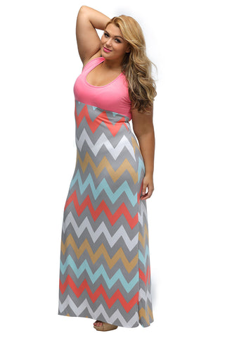 Plus Size Pink Top Multi color  Maxi Dress - Its Trendy Frenzy