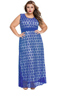 Blue Flowery Lace Overlay Belted Curvy Maxi Dress - Its Trendy Frenzy