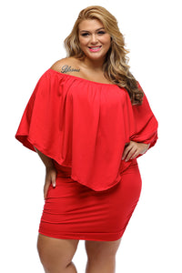 Plus Size  Red Mini Poncho Dress - Its Trendy Frenzy