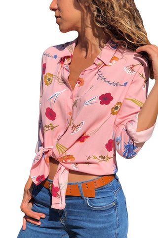 Pink Long Sleeve Floral Print Button Front Shirt - Its Trendy Frenzy