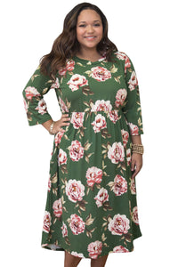 Olive Floral  Plus Size Dress - Its Trendy Frenzy