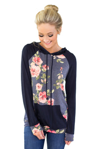 Kangroo Pocket Floral Hoodie - Its Trendy Frenzy