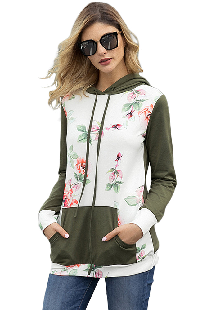 Army Green Kangroo Pocket Floral Hoodie - Its Trendy Frenzy