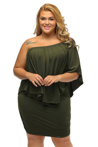 Plus Size  Army Green Poncho Dress - Its Trendy Frenzy