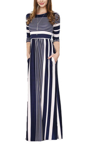 Navy Multiple Striped Casual Pocket Style Maxi Dress - Its Trendy Frenzy