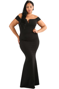 Black Plus Size Sheer Sleeve Column Dress - Its Trendy Frenzy