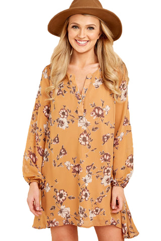 Mustard Floral Print V Neck Chiffon Dress - Its Trendy Frenzy