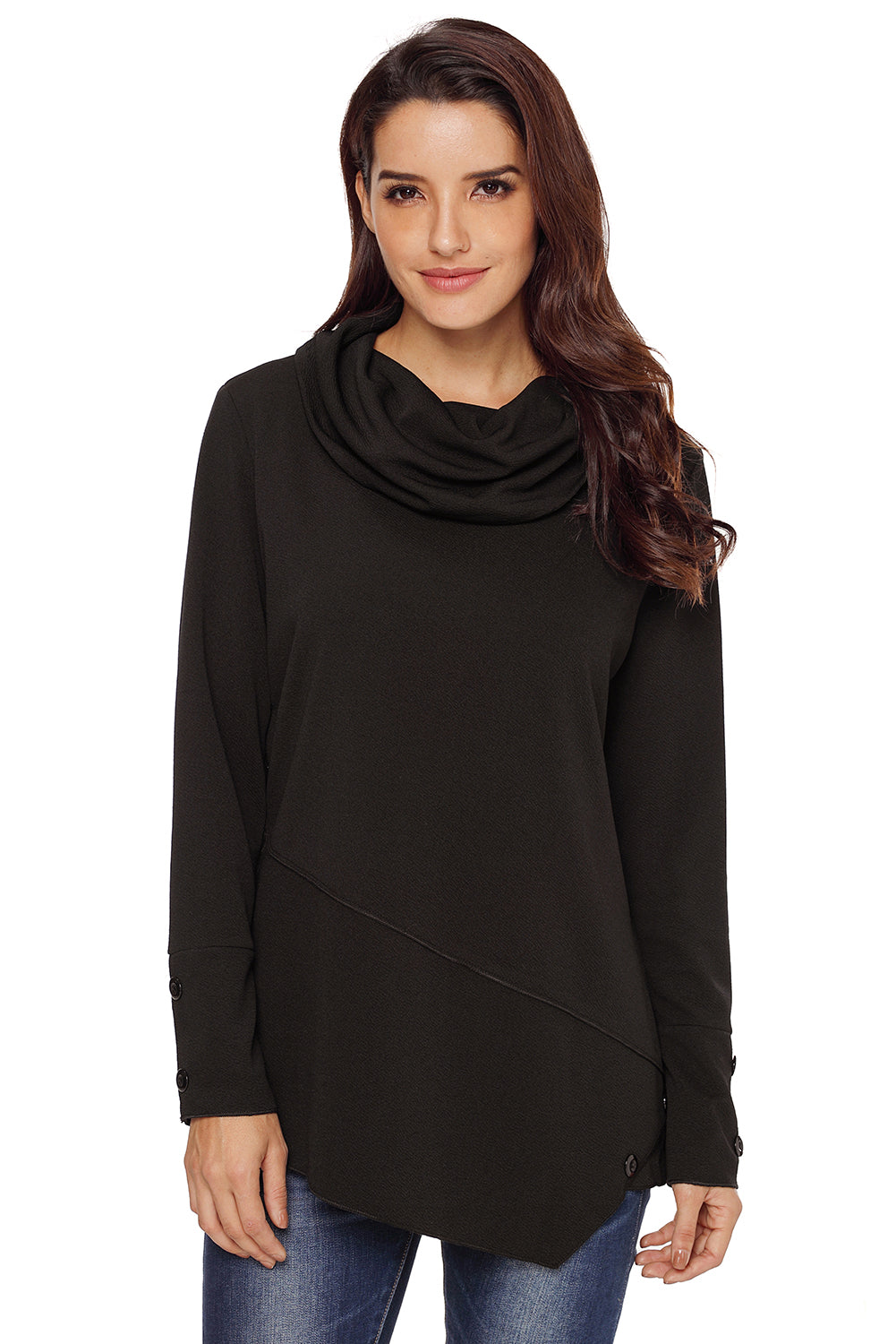 Black Button Detail Asymmetric Cowl Neck Sweatshirt - Its Trendy Frenzy