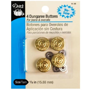 4 Dungaree Buttons Gold-Notion-Spool of Thread