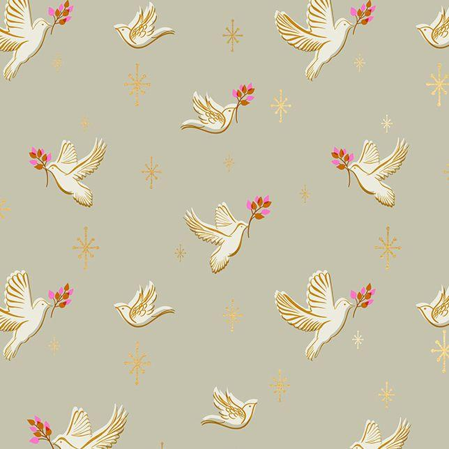 Candlelight Prints Doves Wool Metallic ½ yd-Fabric-Spool of Thread