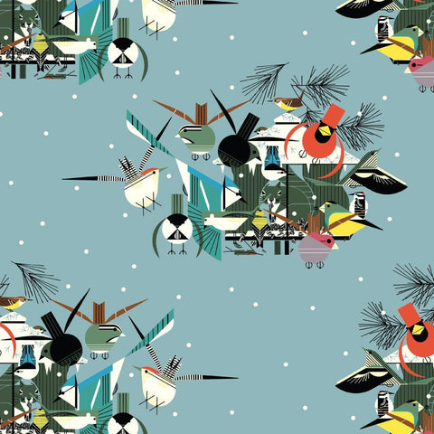 Charley Harper Holidays Christmas Card ½ yd-Fabric-Spool of Thread