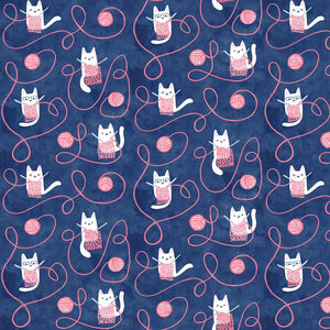 Creative Cats Kitty Knitting Multi ½ yd-Fabric-Spool of Thread