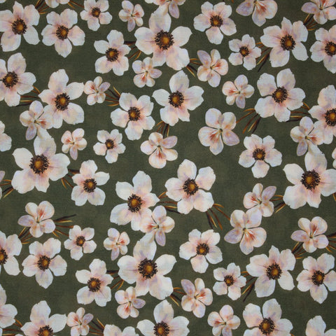 Lady McElroy Viscose Challis Lawn Floral Chain Fern ½ yd-Fabric-Spool of Thread