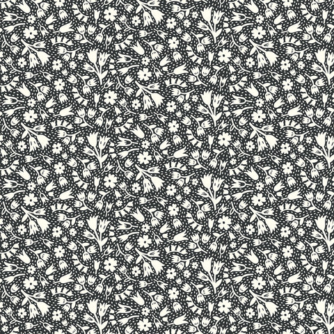 Squeeze Floral Black ½ yd-Fabric-Spool of Thread