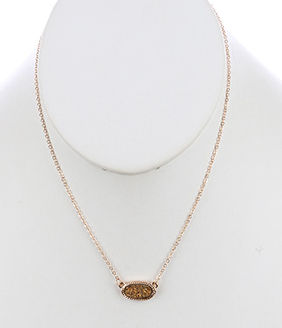 Oval Druzy Stone Necklace