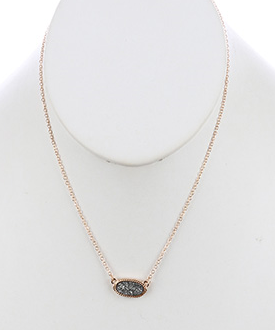 Oval Druzy Style Stone Necklace