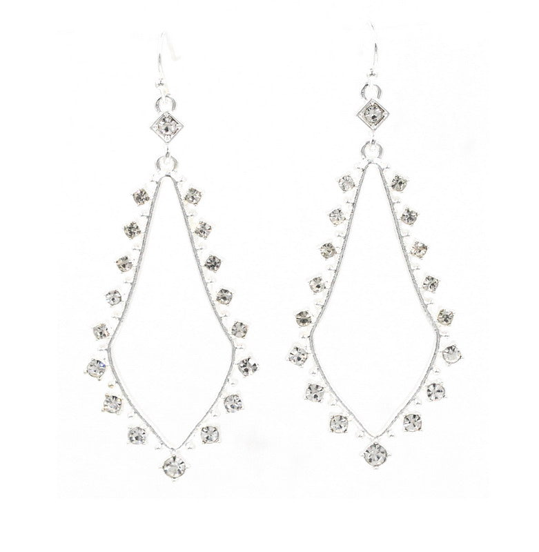 Silver Crystal Engle Drop Earrings