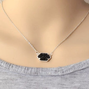 Silver Black Druzy Necklace