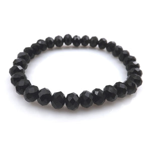 Black Faceted Crystal Beaded Bracelet