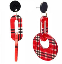 Round Pendants Houndstooth Pattern Statement Earrings Jewelry