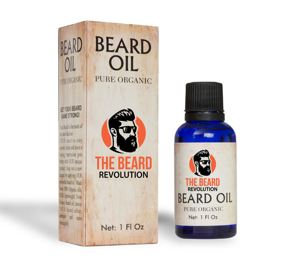 The Beard Revolution®️| Premium Pure Organic Beard Oil | Unscented Beard Oil With Vitamins & Natural Herbs