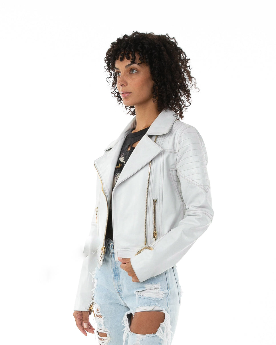 Side of female model wearing Prince leather jacket