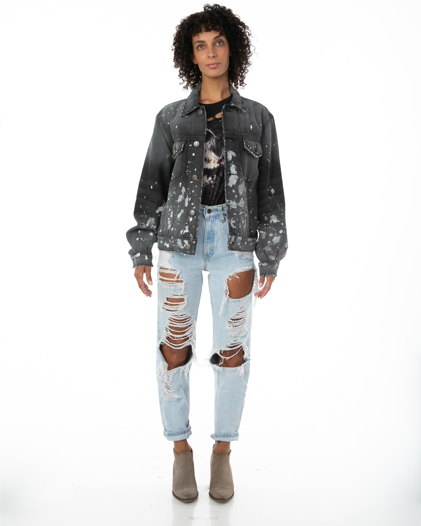 Front of female model wearing Painter's Denim jacket
