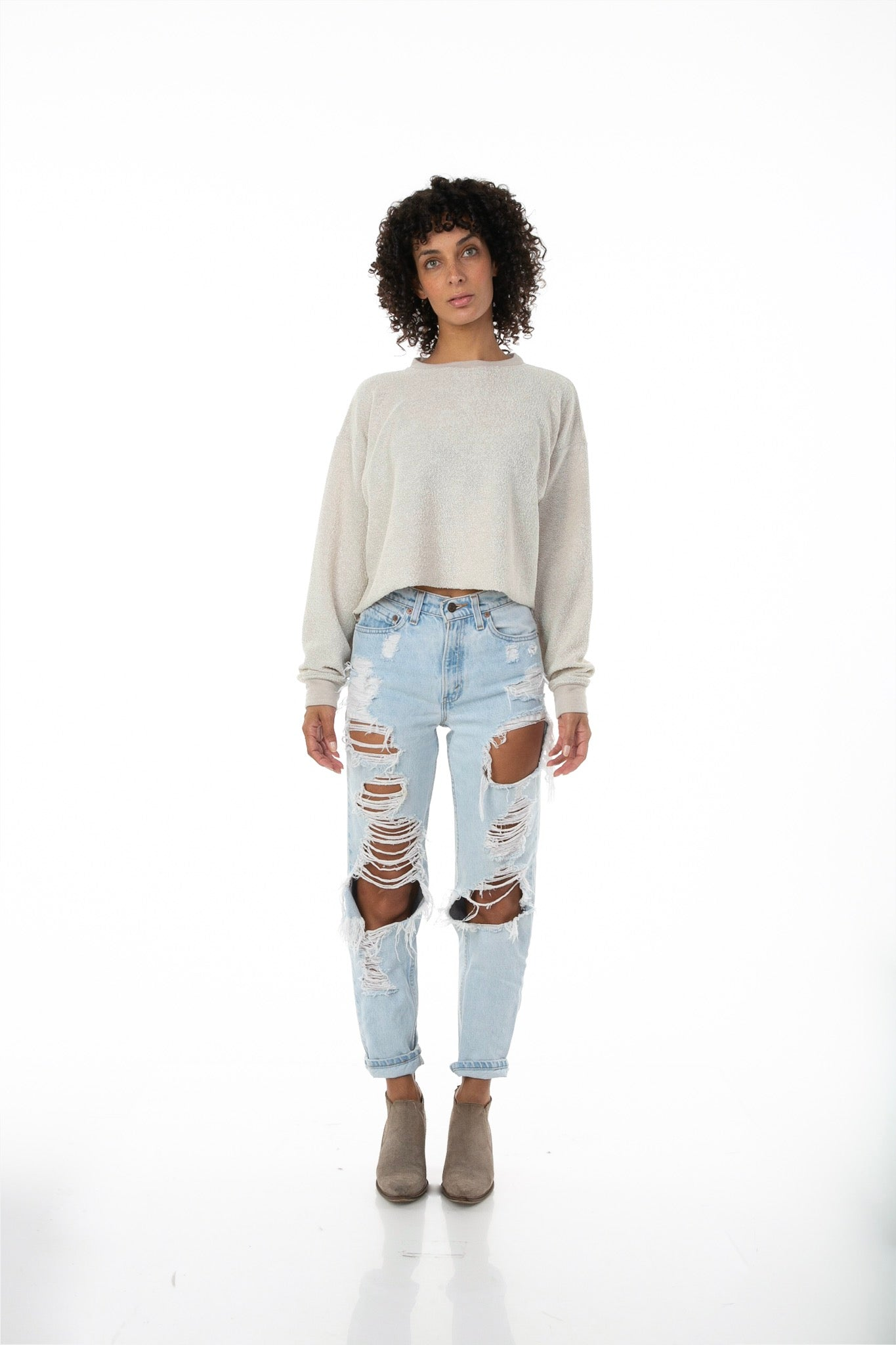 Front of female model wearing Cropped Sweater in Taupe Heather