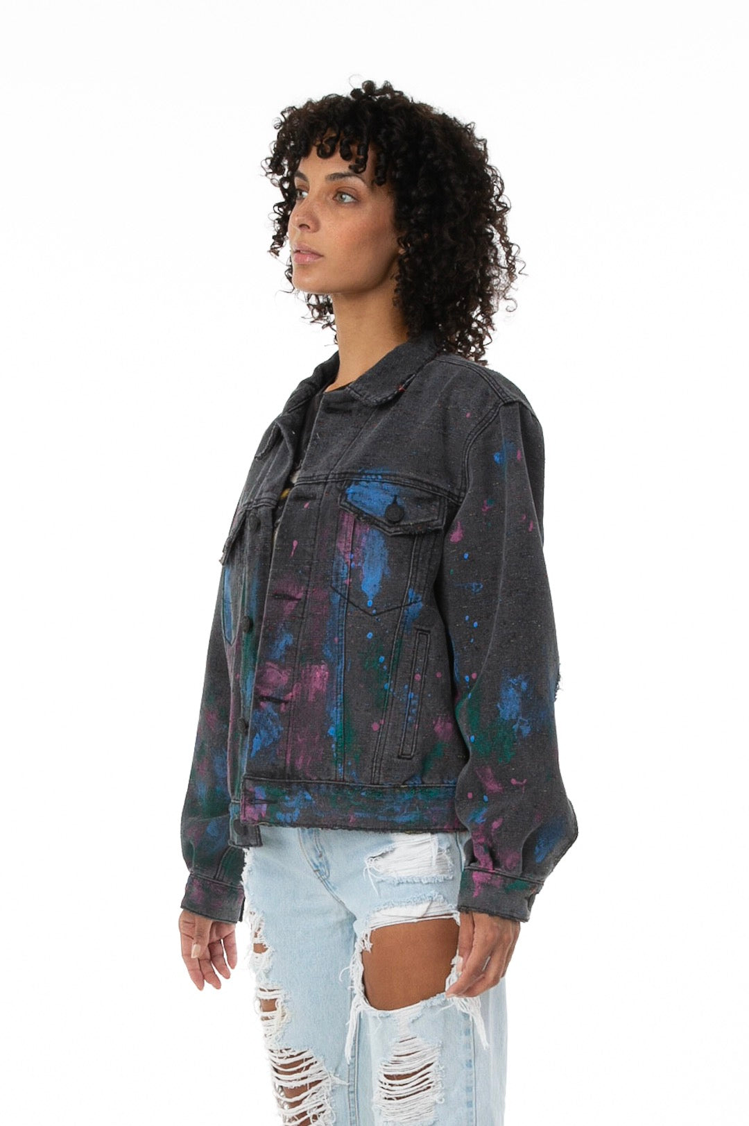 Side of female Model Wearing Artists' Denim Jacket