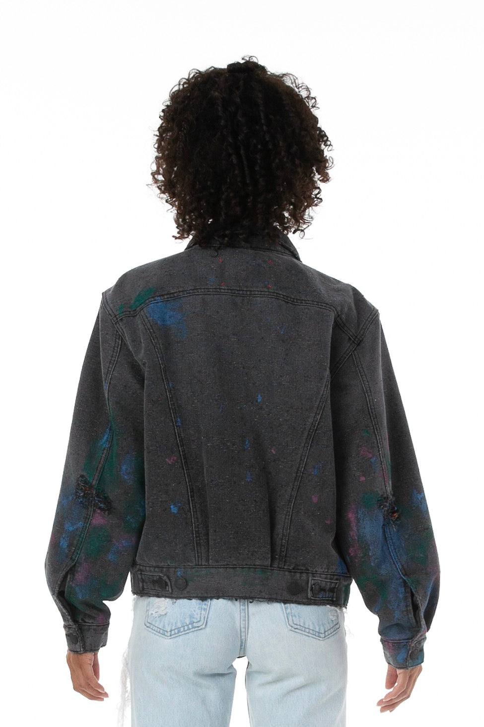 Front of female Model Wearing Artists' Denim Jacket