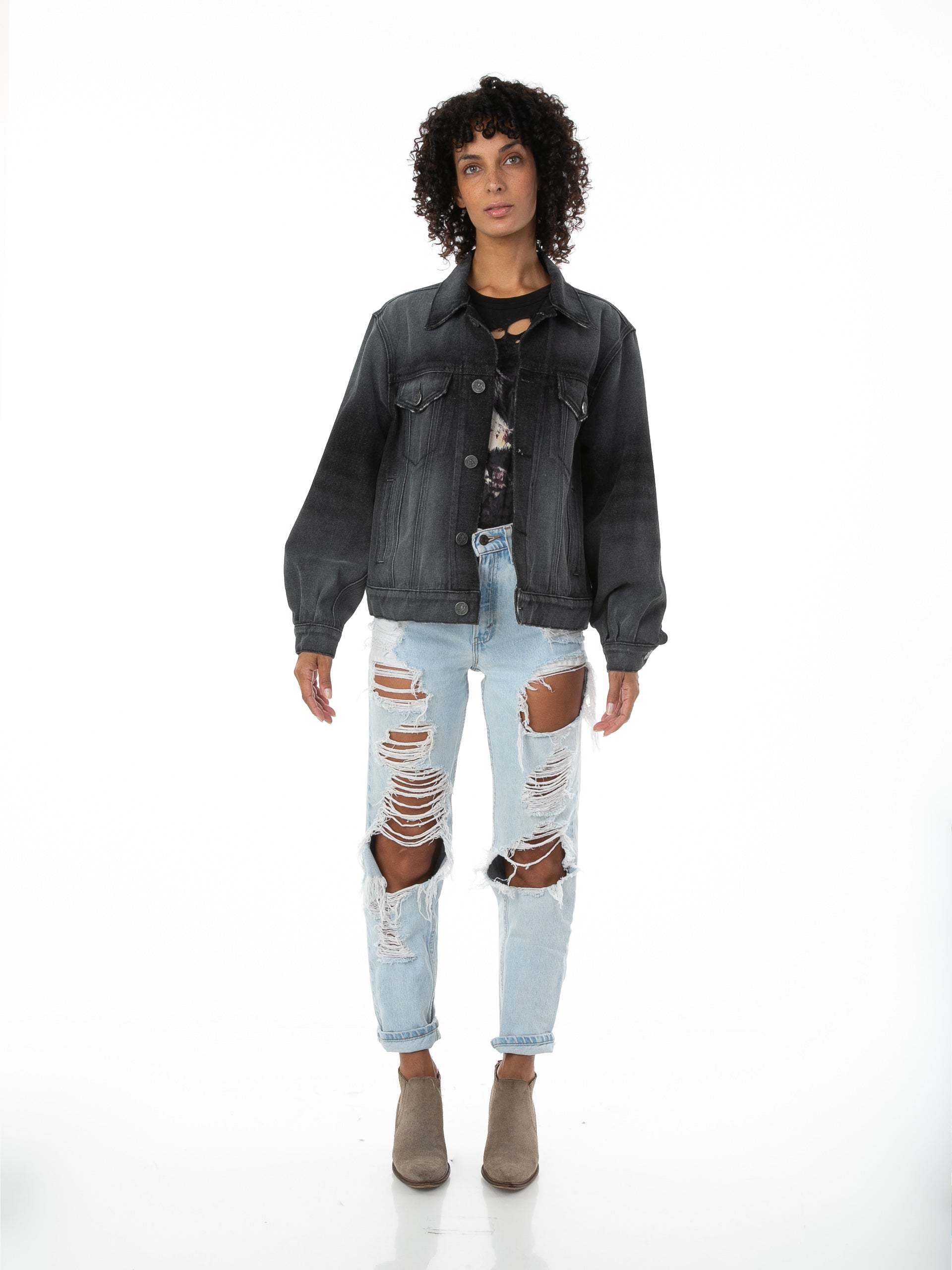 Front of Female model wearing Black Truffle Denim jacket