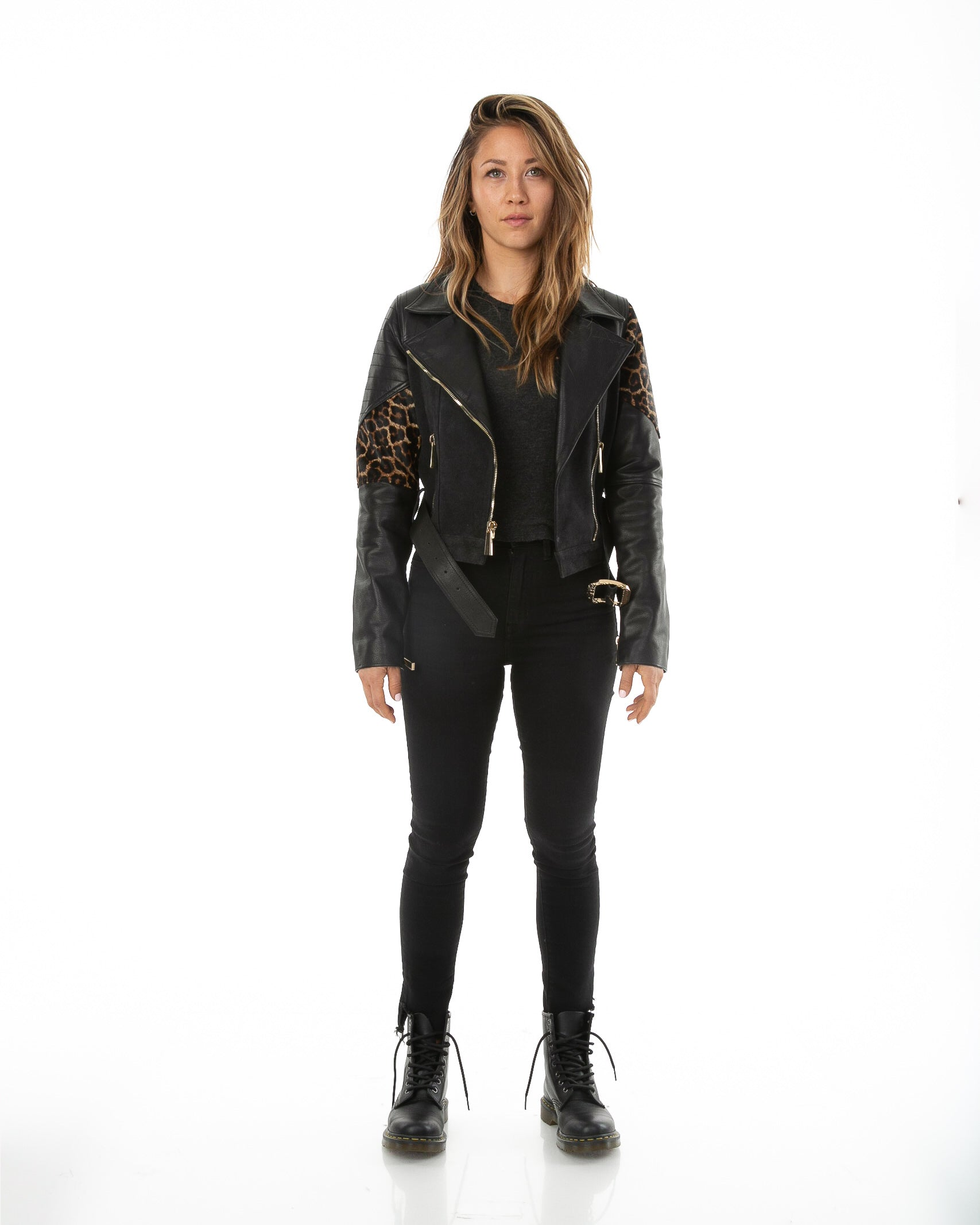 Front of female model wearing Papi leather jacket