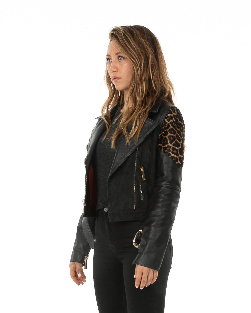 Side of female model wearing Papi leather jacket