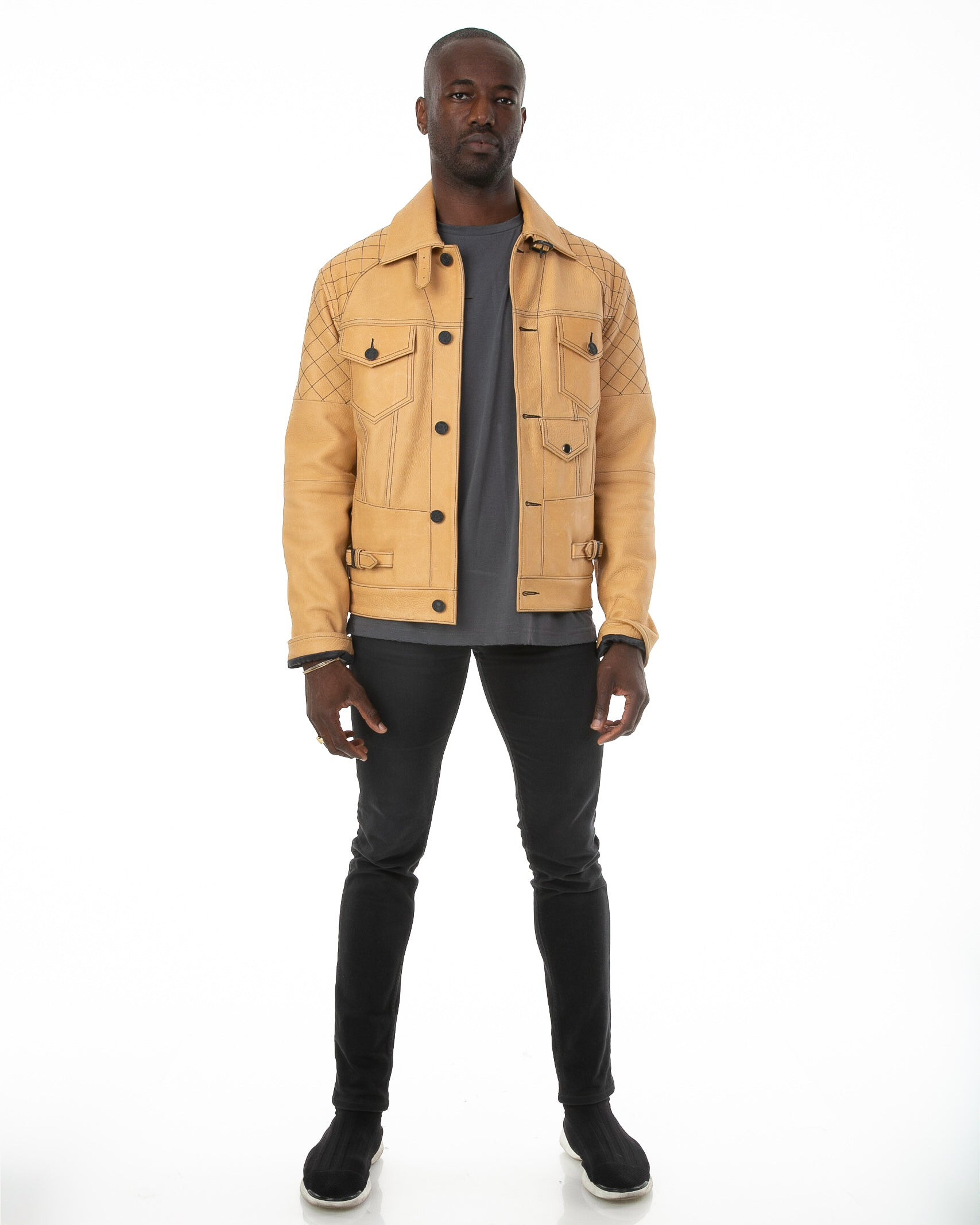 Front of male model wearing The Natural leather jacket
