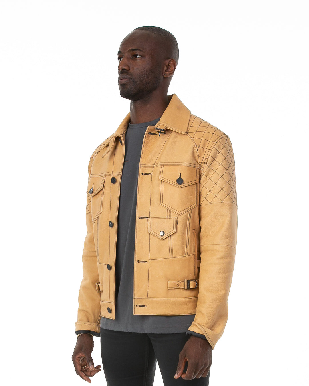 Side of male model wearing The Natural leather jacket
