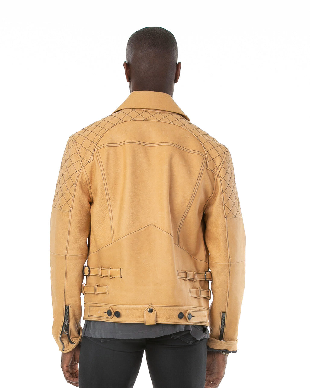 Back of male model wearing The Natural leather jacket