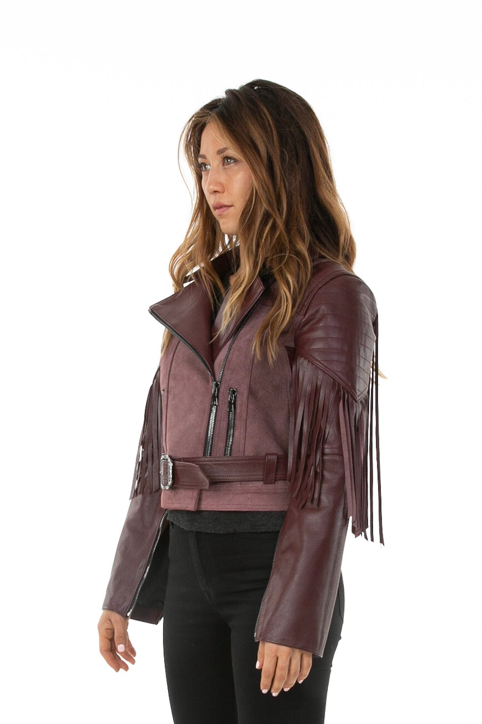 Side of female model wearing Sonia leather jacket