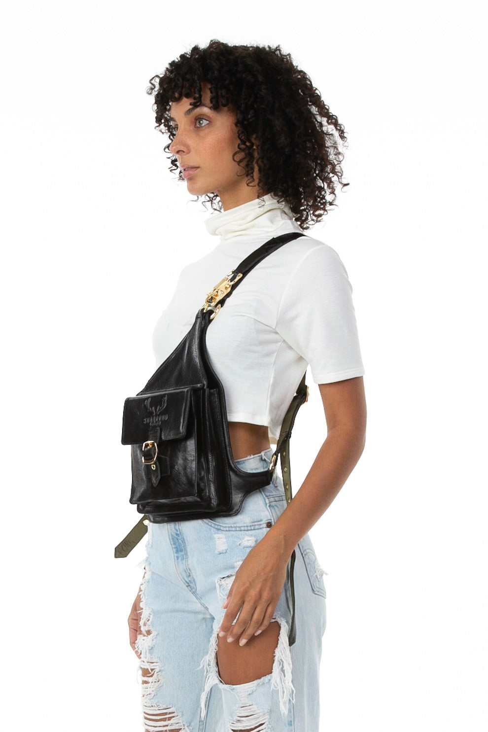 Side of female model wearing Holster Bag in Black