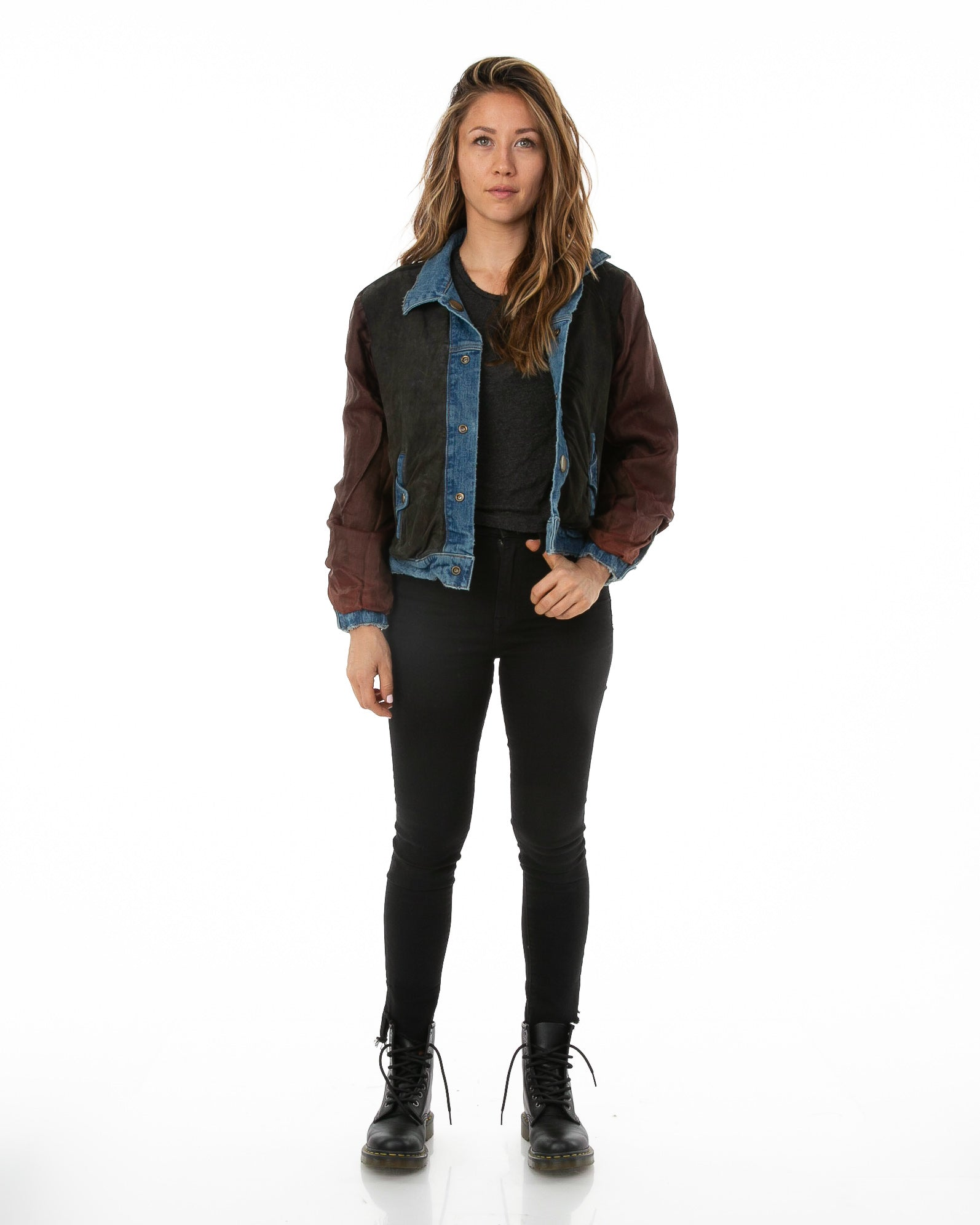 Front of female model wearing Reversible Suede Bomber jacket