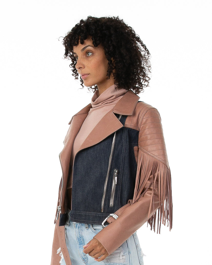 Side of female model wearing Bubble Gum Leather