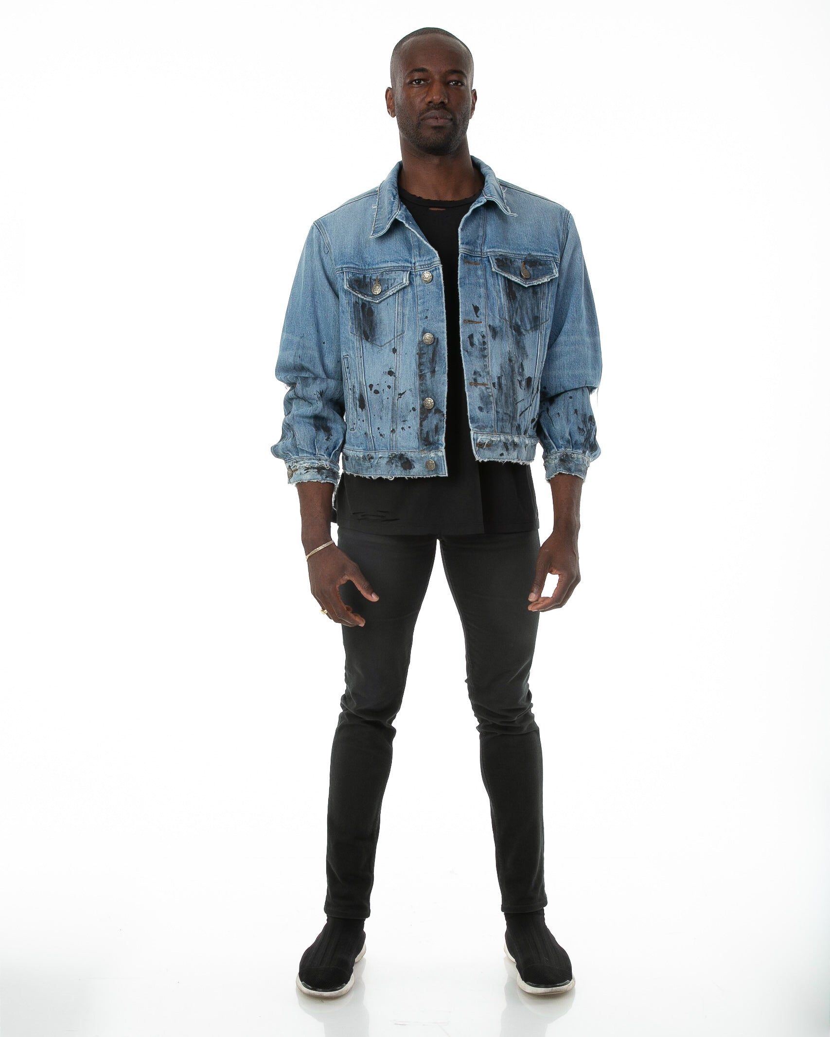 Front of male model wearing Roofers Denim jacket