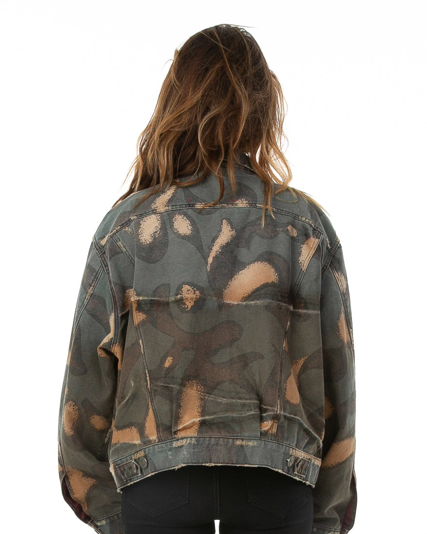 Back of female model wearing WWII Denim jacket